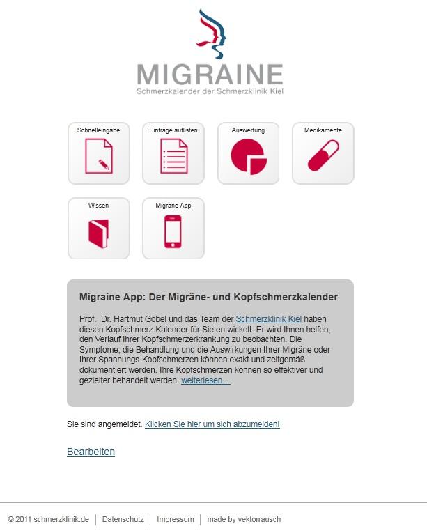 migraine app der neue online migr nekalender schmerzklinik kiel migr ne klinik. Black Bedroom Furniture Sets. Home Design Ideas