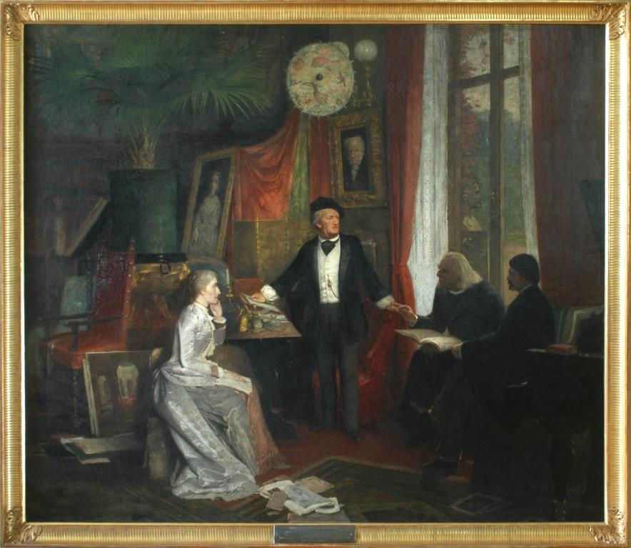 Cosima Wagner (née Liszt), Richard Wagner, Franz Liszt and Hans von Wolzogen at Villa Wahnfried, Bayreuth, Upper Franconia, Germany. Richard Wagner wore a hat also in the inside, which was a standard remedy against headaches at the time. Painting by Wilhelm Beckmann 1881. Source: Richard Wagner Museum, Luzern.